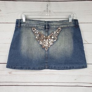 Revolt light washed sequin Jean mini skirt
